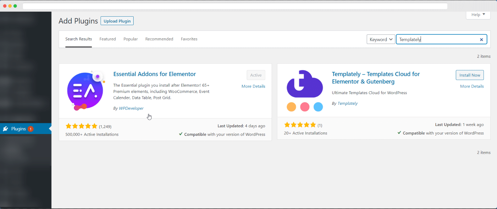 Install Templately on WordPress