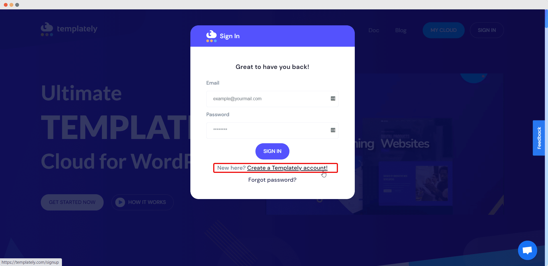 create account on Templately